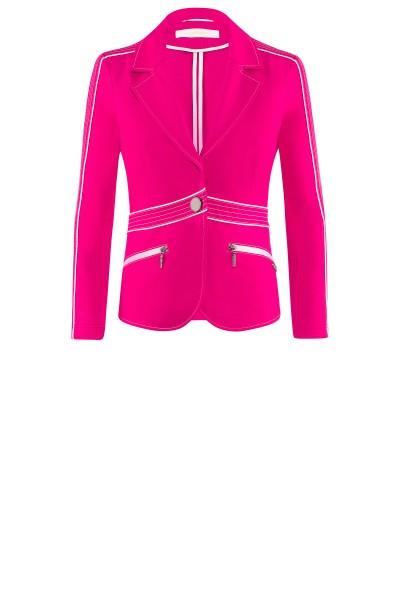Pinkfarbener Jerseyblazer mit hellen Nähten um € 349,–