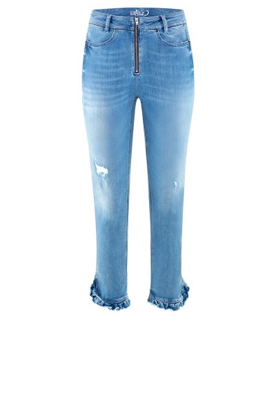Jeans mit Statement-Zipper und Rüschen Saum um € 269,–