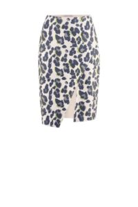 Pencil Skirt in Wickeloptik mit Leoprint um € 249,–
