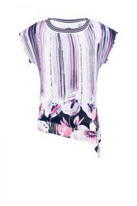 Gemusterte, asymmetrisch geschnittene Viskose-Bluse um € 229,–