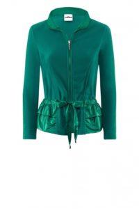 Smaragdfarbene Fleecejacke mit Mini-Schößchen um € 279,–