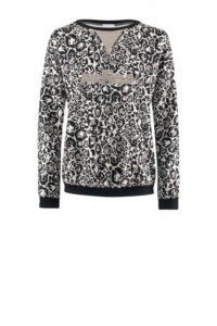 AIRFIELD Sweater mit Leo-Print in Taupe-Schwarz um € 229,–