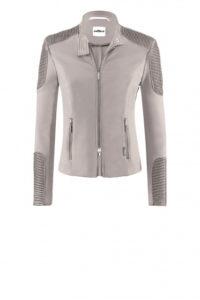 Taupefarbene Jersey-Jacke im Biker-Stil um € 399,–